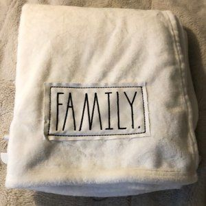 """Rae Dunn Plush Throw with Patch """"Family"""""""